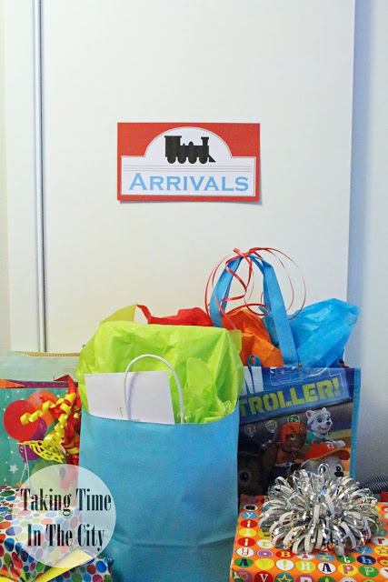 Our Boy Life - Thomas Birthday Party Arrivals or Presents Table