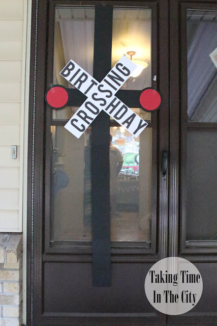 Our Boy Life - Thomas Birthday Party Front Door Birthday Crossing Decoration