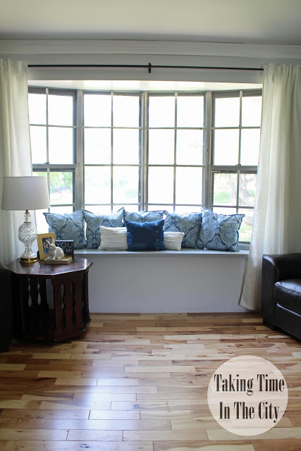 Blue and White Themed Window Seat