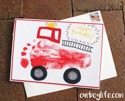 Our Boy Life - Complete Footprint Firetruck Birthday Card for Boys