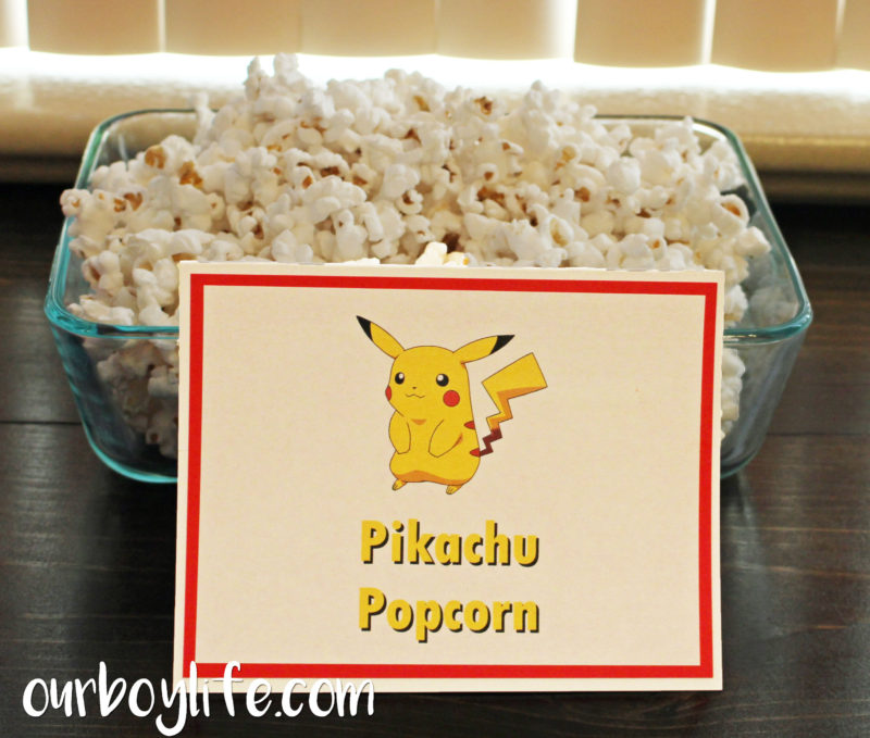 Pokemon Birthday Party Pikachu Popcorn- Our Boy Life